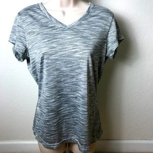 Gray workout top v-neck short sleeves M